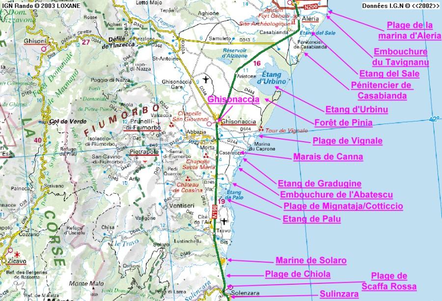 Carte Corse Solenzara.Corse Sauvage Sulinzara Aleria